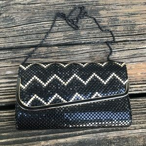 Vintage Black Gold Mesh Purse Handbag Bag Zig Zag